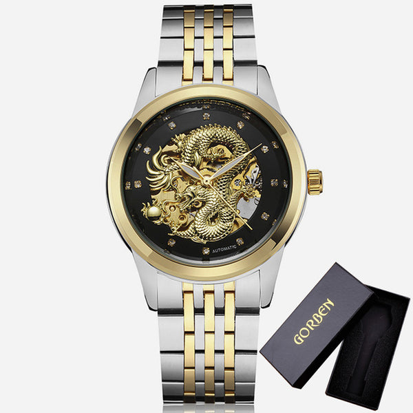 Automatic 3D Carved Dragon Steel Gold Skeleton Mechanical Watch For Men - Teme Store