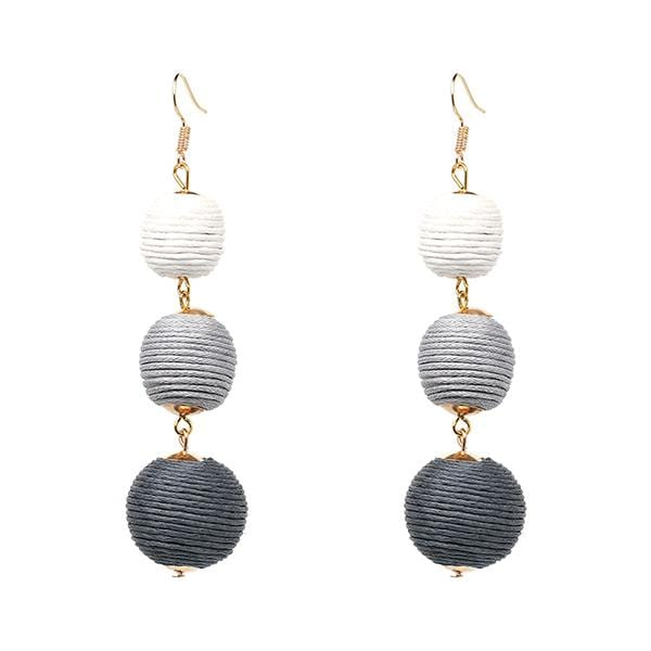 Triple Ball Thread Wrapped Dangle Tassel Statement Fringe Drop Earrings - Teme Store