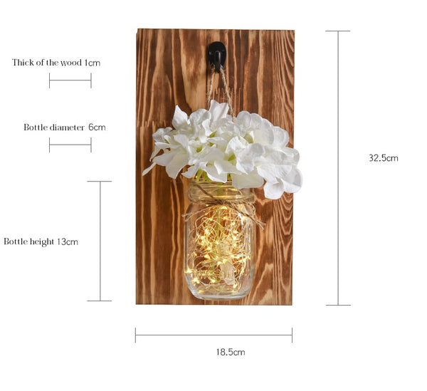 rustic mason jars with lights and flowers size chart