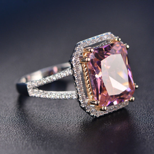 Sterling Silver Pink Big Square Topaz Wedding Ring - Teme Store