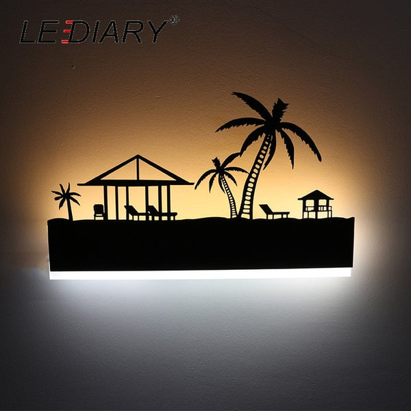 Creative Modern Romantic LED Wall Lamp & Painting Black Sconce Home Decoration