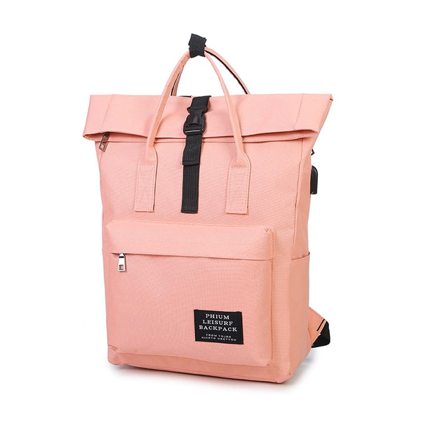 Preppy Style External USB Charge Canvas Girls Backpack
