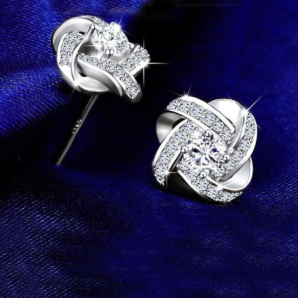 Sterling Silver Rhinestone Crystal Stud Earrings For Women - Teme Store