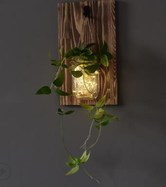 mason jar fairy lights with flowers for home decor