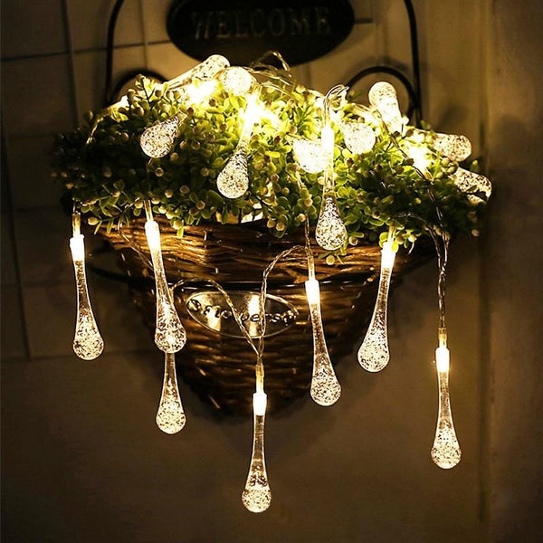 Waterproof 30 LED Water Drop String Fairy Light Outdoor Christmas Party Decoration