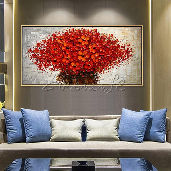 Stunning 3D Texture Acrylic Red Flower Canvas Oil Painting Wall Art For Home Decor