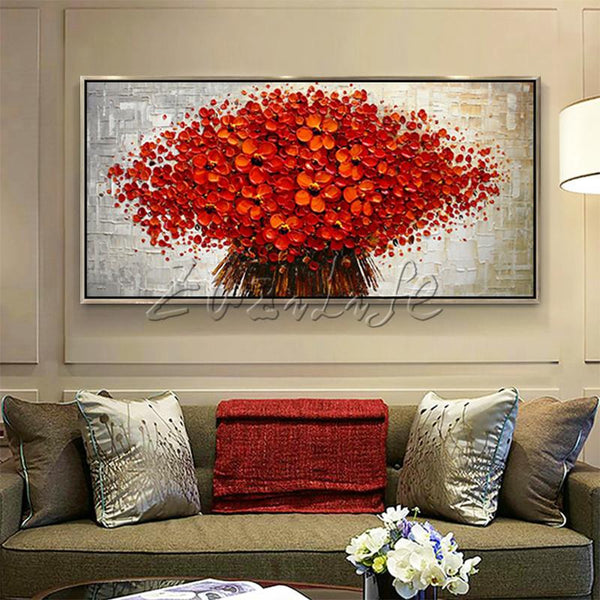 Stunning 3D Texture Acrylic Red Flower Canvas Oil Painting Wall Art For Home Decor - Teme Store