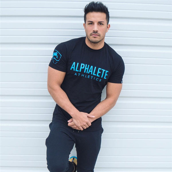 ALPHALETE printed Fitness Slim Fit Short Sleeve T-Shirt 2018 for Men - Teme Store