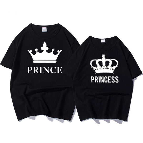 Casual O-neck Tops Lovers Prince Princess Print Couple T Shirt - Teme Store