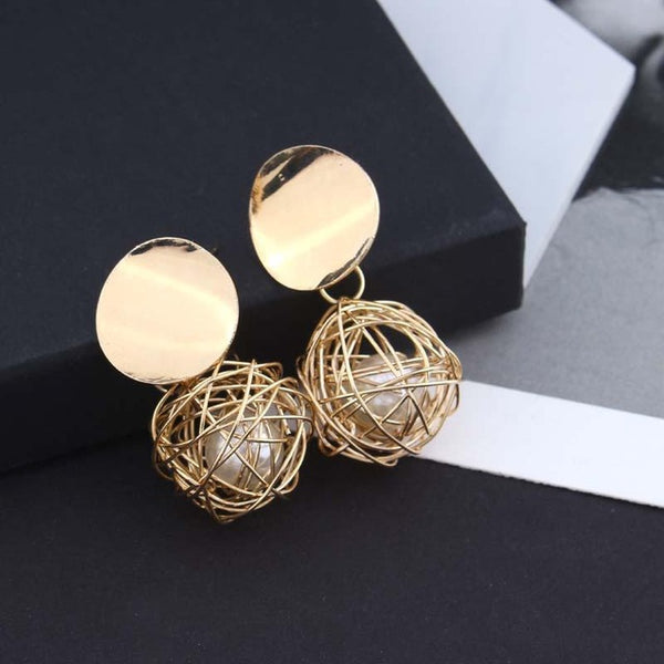 Retro Woven Ball Pearl Metal Earrings - Teme Store