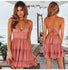 Spaghetti Strap Sexy Women V-neck Sleeveless Beach Backless Lace Patchwork Dress - Teme Store
