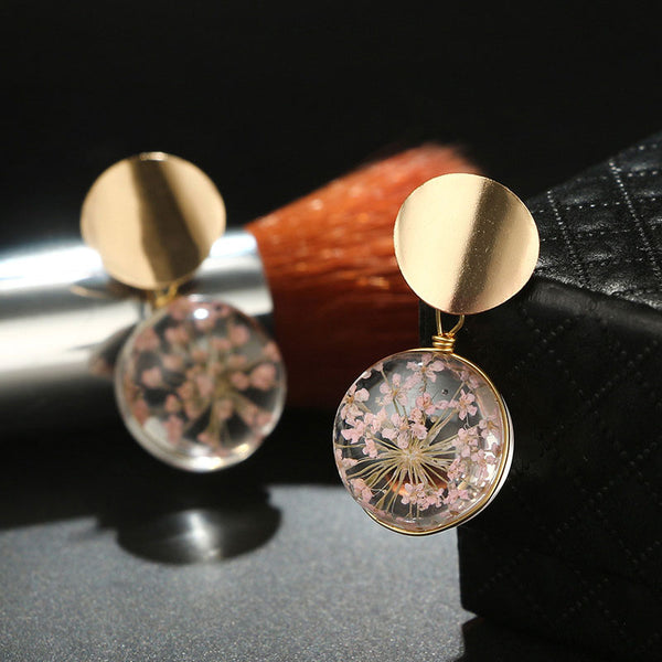 Dried Flower Gold Color Clear Transparent Ball Dangle Hanging Earrings