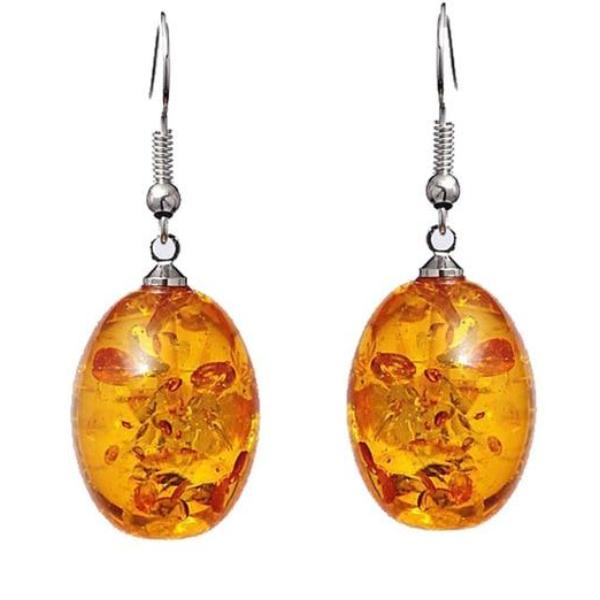 Dried Flower Gold Color Clear Transparent Ball Dangle Hanging Earrings - Teme Store