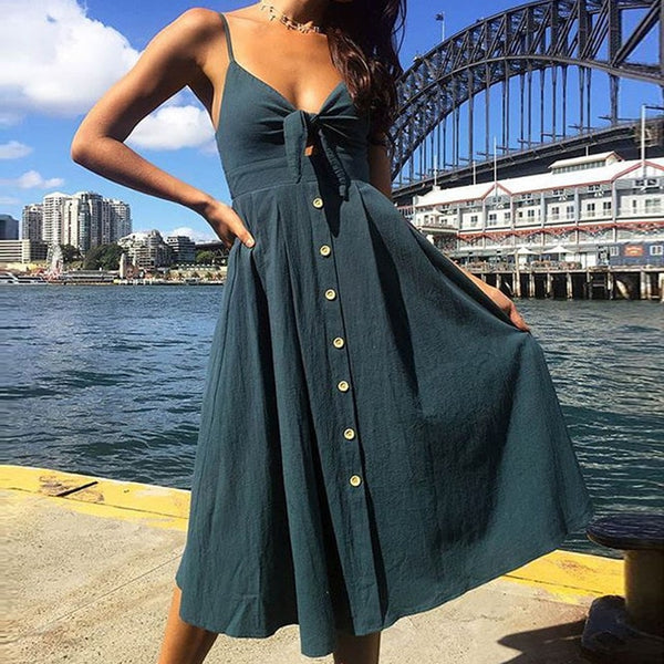 Sexy Bow Backless Deep V Neck Buttons Off Shoulder Midi Dress