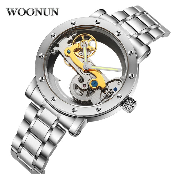 Automatic Stainless Steel Transparent Skeleton Mechanical Hollow Watch