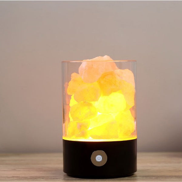 LED Rechargeable Night Light Himalayan Crystal Salt Lamp Air Purifier - Teme Store