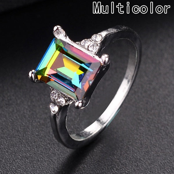 Hot Square Shaped Colorful Zircon Ring With Rainbow Crystals For Mens & Women - Teme Store