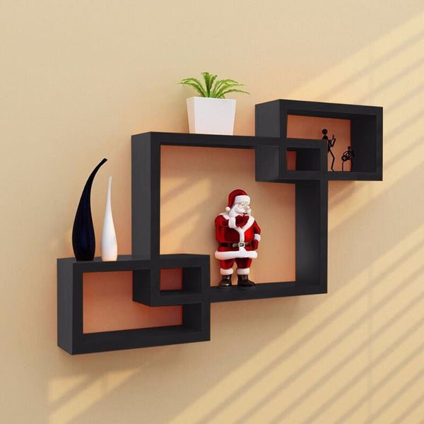 Modern 3 Black Intersecting Wood Boxes Wall Mounted For Home Decor - Teme Store