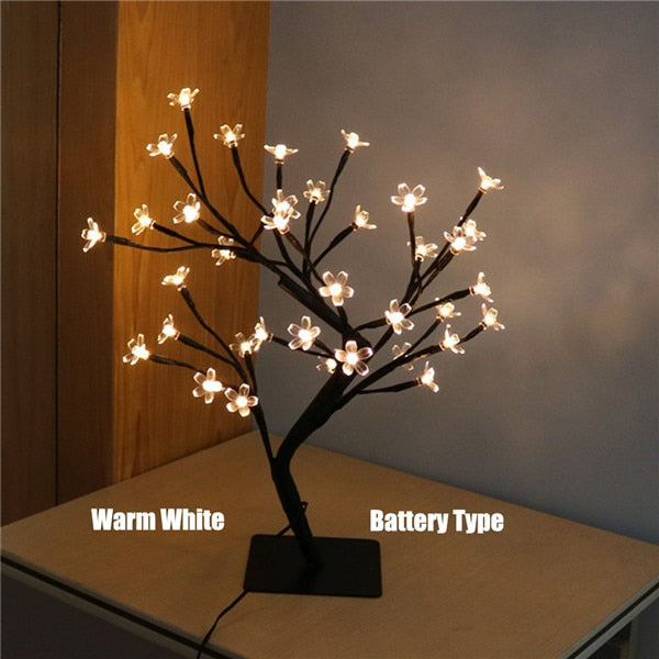 Led Cherry Blossom Rose Bonsai Table Lamp For Home Festival Party