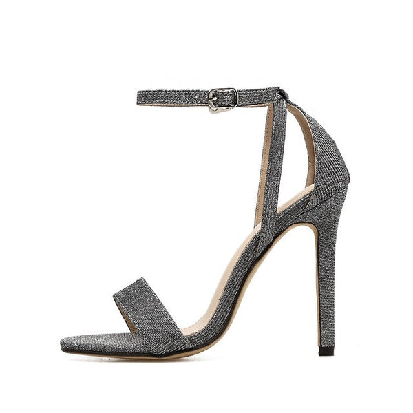 Sexy Silver Open Toe Stiletto High Heels Women Sandals - Teme Store