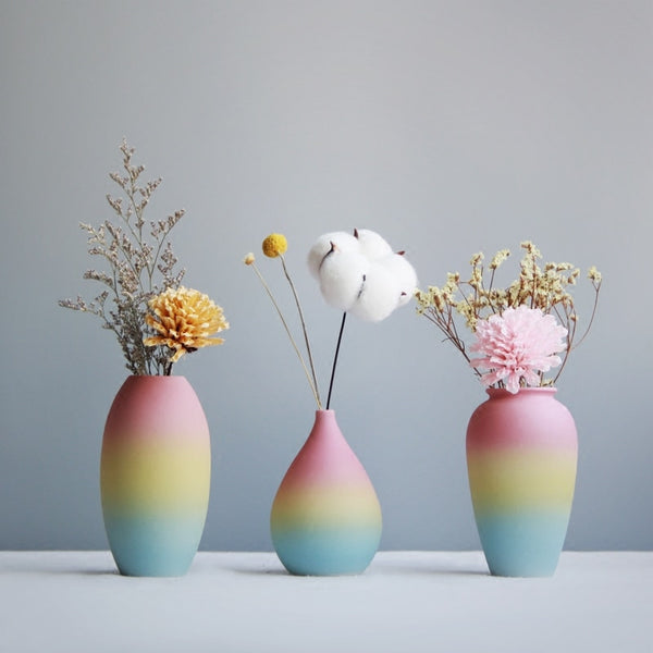 Modern Colorful Ceramic Flower Vase With Rainbow Print For Home Decoration - Teme Store