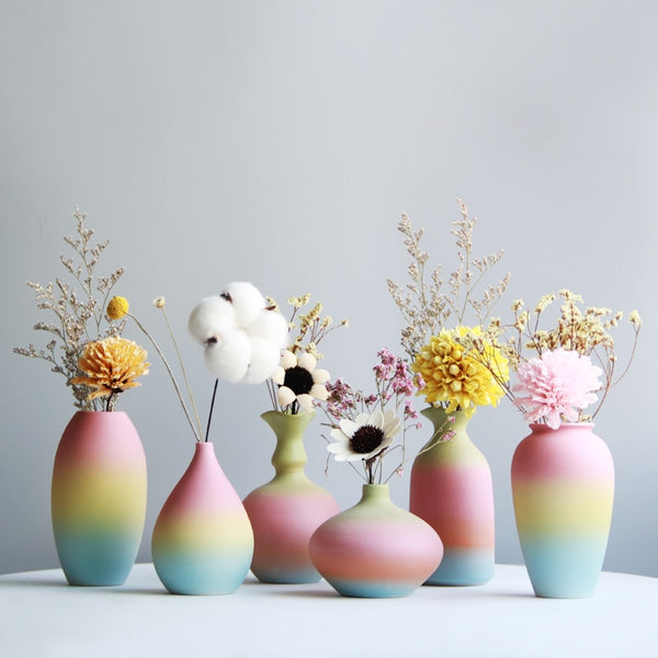 Modern Colorful Ceramic Flower Vase With Rainbow Print For Home Decoration