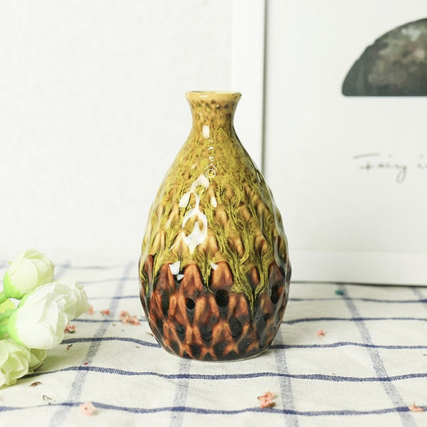 Handmade Porcelain Delicate Ceramic Vase Pineapple Looking Flower For Home Decoration - Teme Store