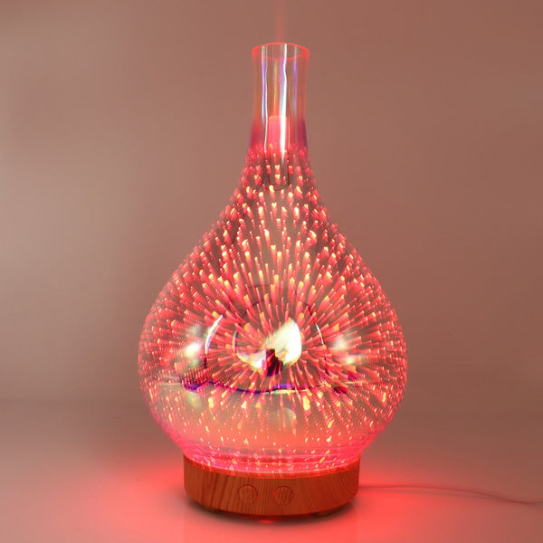 3D Fireworks LED Glass Aroma Essential Oil Diffuser - Teme Store