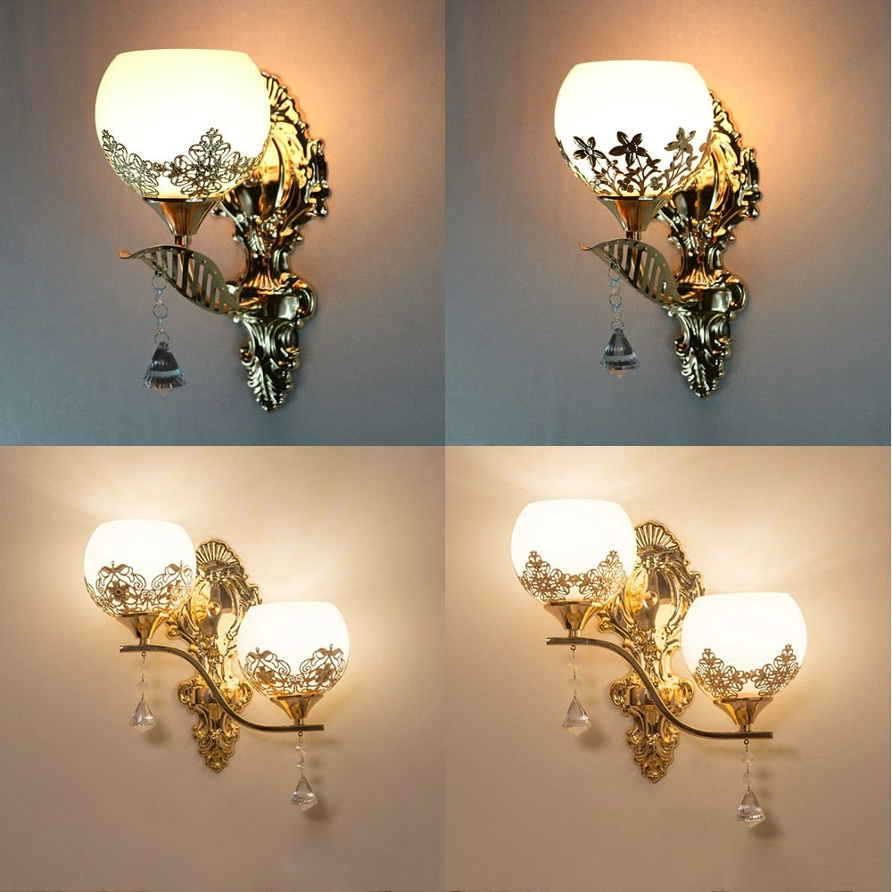 European Style Modern Gold Wall Lamp For Bedroom & Living ...