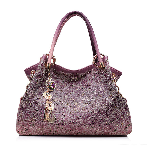 Hollow Out High Quality Leather Floral Print Shoulder Handbag