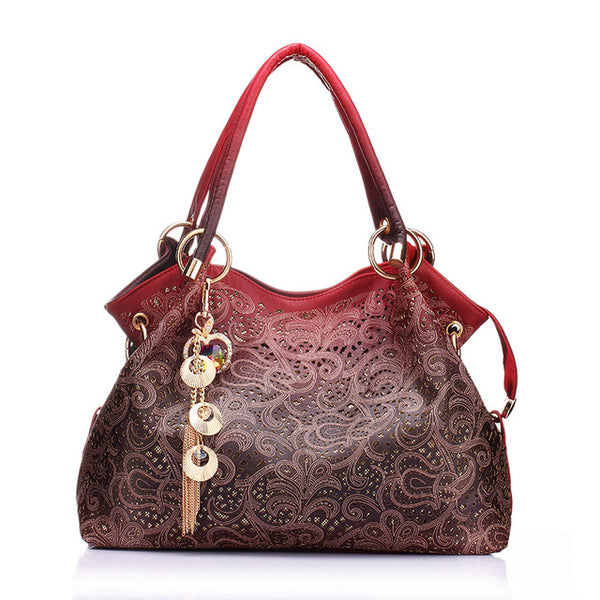Hollow Out High Quality Leather Floral Print Shoulder Handbag - Teme Store