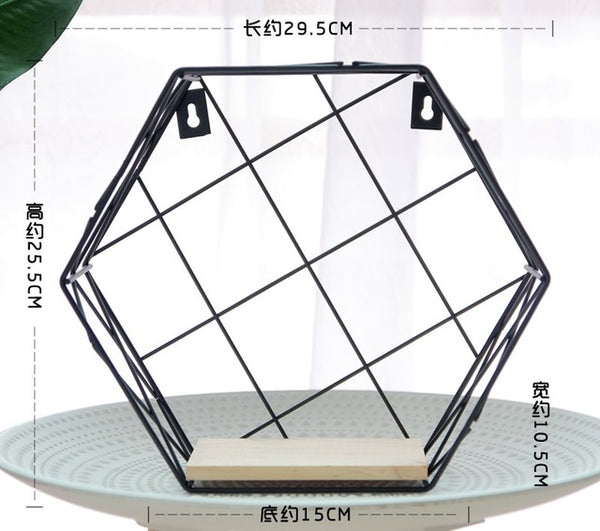 Modern Nordic Hexagon Grid Floating Iron Wall Storage Shelves - Teme Store