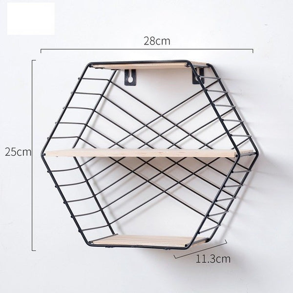 Modern Nordic Hexagon Grid Floating Iron Wall Storage Shelves