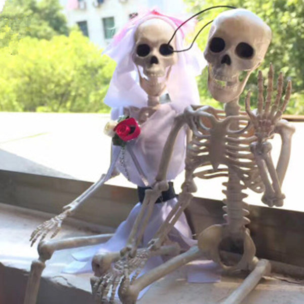 Plastic Skeleton Bride and Groom For Halloween Party Supplies - Teme Store