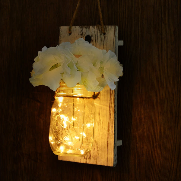 2 Pieces Mason Jar With LED Fairy Lights & Flowers For Home Decor |Wedding Decor| Christmas Gift