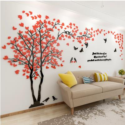 Modern 3D Crystal Romantic Couple Tree Wall Stickers - Teme Store