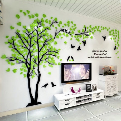 Modern 3D Crystal Romantic Couple Tree Wall Stickers