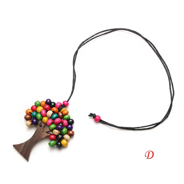 Hand Made Colorful Tree Of Life Wooden Beads Necklace