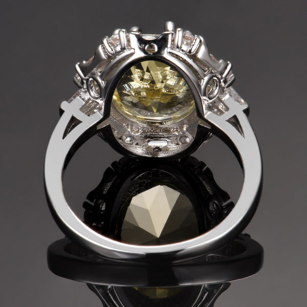 Light Yellow Big Gemstone Ring - Teme Store