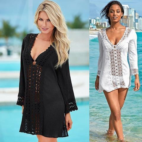 WOMEN LACE CROCHET BIKINI BEACHWEAR COVER UP BEACH DRESS
