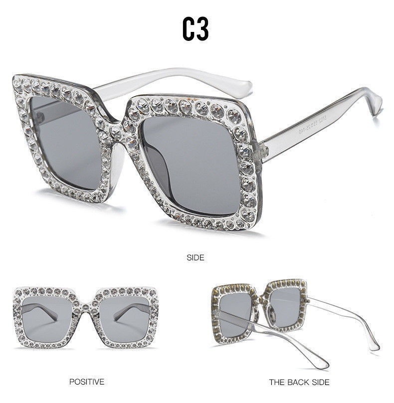 bc4bf15a26917 Large Square Frame Bling Rhinestone Sunglasses Women Fashion - Teme Store
