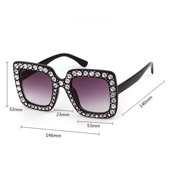 Large Square Frame Bling Rhinestone Sunglasses Women Fashion - Teme Store