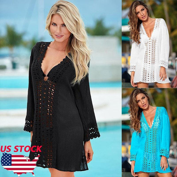 WOMEN LACE CROCHET BIKINI BEACHWEAR COVER UP BEACH DRESS - Teme Store