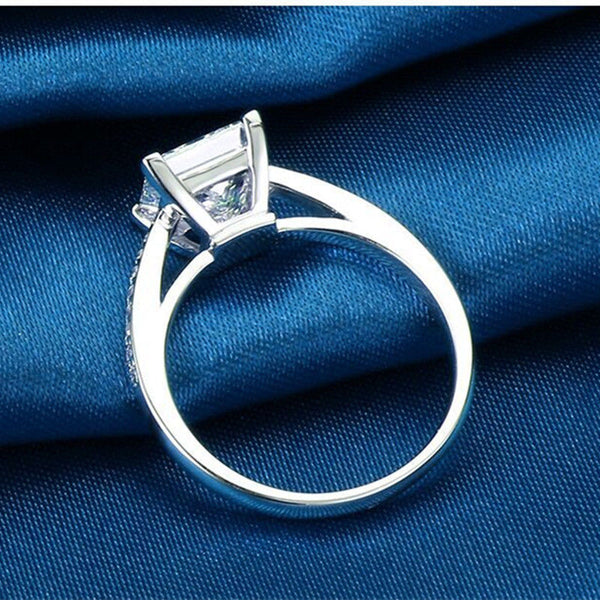 Handmade Princess Cut Silver Women Wedding Ring - Teme Store