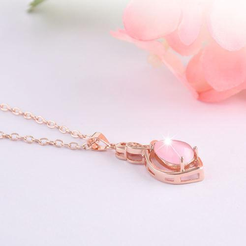 Gold Plated Crystal Pink Pendant Fashion Chain Necklace Jewelry - Teme Store