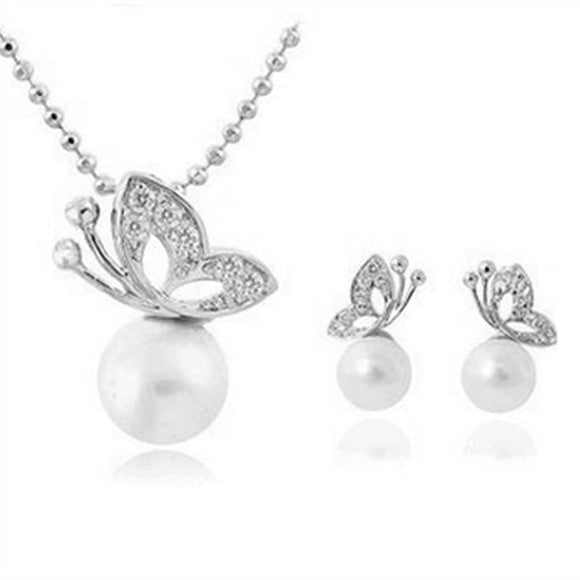 x38 Fashion Simulated Pearl Butterfly Jewelry Set Women Silver Color Stud  Earring Pendant Necklace Wedding Jewelry 7f7c1aa43bb8