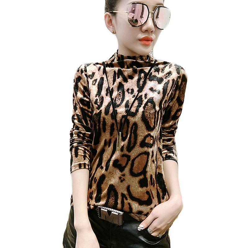 262f050c524d1 2018 Korean Leopard Print Blouse Women Half Turtleneck Long Sleeve Velvet  Blouses Ladies Tops plus Size ...