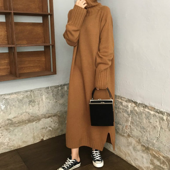 dbaa281ffe7 Women Autumn Winter Turtleneck Pullover Sweater Long Knitted Dress Female  Long Sleeve Vestido Casual Sarafan Loose