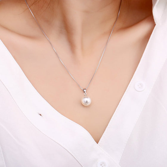 Sterling Silver Simulated Pearl Necklace
