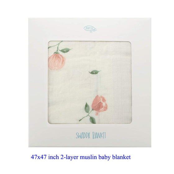 Muslin Baby/Toddler Blanket (Pink Rose)